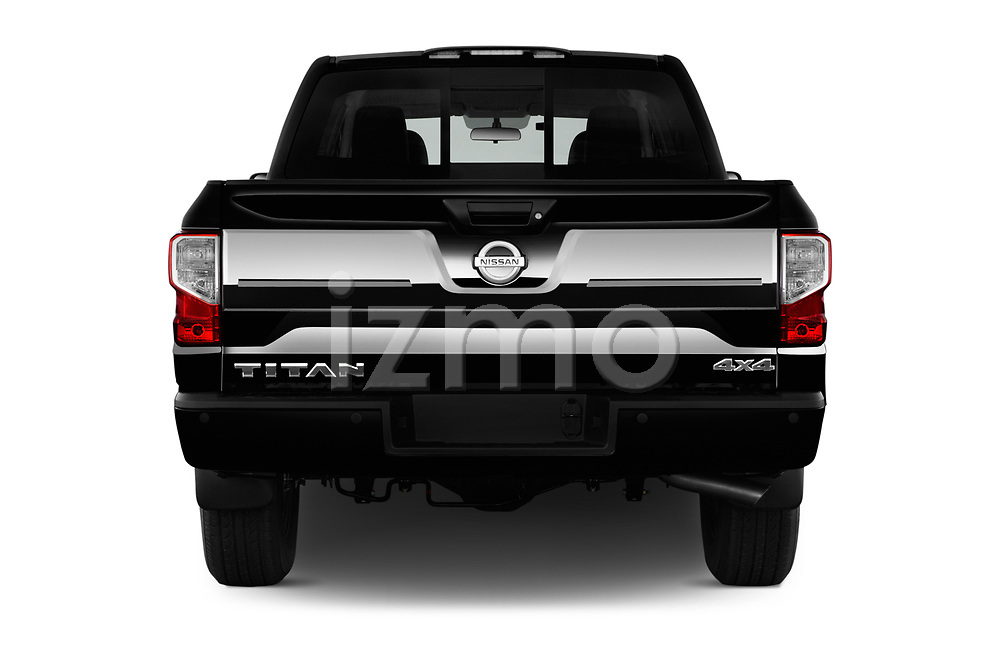 Straight rear view of 2018 Nissan Titan Platinum-Reserve-Crew 4 Door Pickup Rear View  stock images