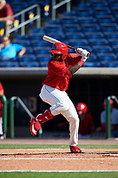 Clearwater Threshers pinch hitter Cornelius Randolph (2) at bat during the first game of a doubleheader against the Palm Beach Cardinals on April 13, 2017 at Spectrum Field in Clearwater, Florida.  Clearwater defeated Palm Beach 1-0.  (Mike Janes/Four Seam Images)