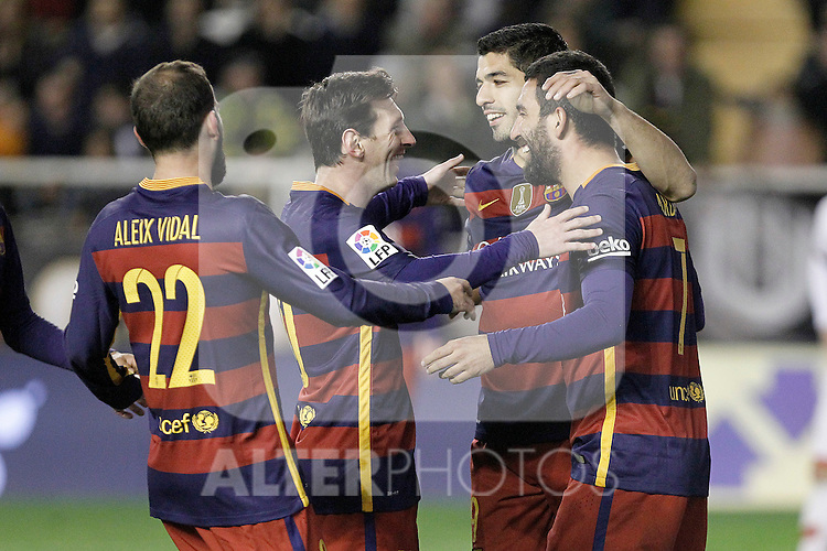 FC Barcelona's Aleix Vidal, Leo Messi, Luis Suarez and Arda Turan celebrate goal during La Liga match. March 3,2016. (ALTERPHOTOS/Acero)