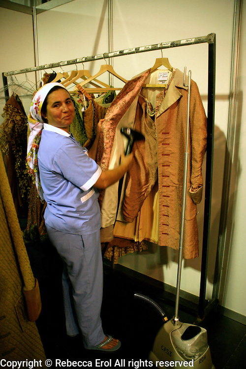 Cleaning the costumes for The Royal Ballet, Covent Garden's production of Manon at the Aspendos International Opera and Ballet Festival in Turkey