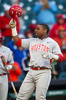 Houston Cougars third baseman Jonathan Davis #40 celebrates after hitting a grand slam home run against the Baylor Bears in the NCAA baseball game on March 2, 2013 at Minute Maid Park in Houston, Texas. Houston defeated Baylor 15-4. (Andrew Woolley/Four Seam Images)