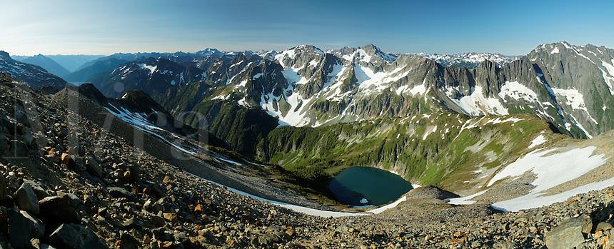 View of Doubtful Lake and Washington's North Cascade Mountains from Sahale Arm, North Cascades National Park, Washington State, USA