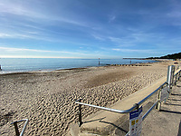 BNPS.co.uk (01202) 558833. <br /> Pic: Winkworth/BNPS<br /> <br /> Pictured: The beach at Friars Cliff in Christchurch, Dorset. <br /> <br /> A beach hut that looks more like a garden shed you could buy from B&Q for £500 has gone the market - for almost £60,000.<br /> <br /> At 7ft by 8ft the timber cabin is about the same size as most garden sheds, but its idyllic location makes it far more valuable.<br /> <br /> Hut 128 is on Friars Cliff Beach in Christchurch, Dorset.<br /> <br /> The dilapidated hut is about 30 years old and in need of replacing. It doesn't have any fixtures or fittings and is just an empty shell.