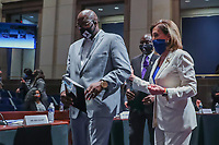 Speaker of the House Nancy Pelosi (R) arrives with George FloydÌs brother Philonise Floyd (L) at the House Judiciary Committee hearing on ÎPolicing Practices and Law Enforcement AccountabilityÌ at the US Capitol in Washington, DC, USA, 09 June 2020. The hearing comes after the death of George Floyd while in the custody of officers of the Minneapolis Police Department and the introduction of the Justice in Policing Act of 2020 in the US House of Representatives.<br /> Credit: Michael Reynolds / Pool via CNP/AdMedia