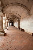 Antigua, Guatemala.  Capuchinas Convent, Built 1736.  Ground-level Corridor.