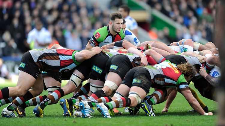 Danny Care of Harlequins prepares to put the ball into the scrum during the Heineken Cup Round 5 match between Harlequins and ASM Clermont Auvergne at the Twickenham Stoop on Saturday 11th January 2014 (Photo by Rob Munro)
