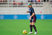 ORLANDO CITY, FL - FEBRUARY 21: Julie Ertz #8 of the USWNT dribbles the ball during a game between Brazil and USWNT at Exploria Stadium on February 21, 2021 in Orlando City, Florida.