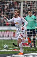 31.03.2018, Football 1. Bundesliga 2017/2018, 28.  match day, Hannover 96 - RB Leipzig, in HDI-Arena Hannover. celebration scorer Emil Forsberg (RB Leipzig)   0:1 *** Local Caption *** © pixathlon<br /> <br /> Contact: +49-40-22 63 02 60 , info@pixathlon.de