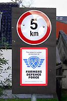 Nederland  Zaanstad -  2020.    Boerderij met logo van Farmers Defence Force.  Foto : ANP/ HH / Berlinda van Dam