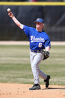 March 15, 2010:  Second Baseman Tad Skelley of the Wheaton College Lyons in a game vs SUNY Cortland at Lake Myrtle Park in Auburndale, FL.  Photo By Mike Janes/Four Seam Images