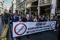 "Pictured: Taxi drivers protest in Athens Greece. Tuesday 06 March 2018<br /> Re: Taxi drivers have attacked Uber vehicles while protesting against Uber operating in Athens, Greece.<br /> Taxi drivers will on strike for nine hours on Tuesday8 a.m. to 5 p.m. in protest at what they call unfair competition from Uber taxi services.<br /> In a statement, the SATA union representing cab drivers in Attica also expressed dismay at delays in passing a Transport Ministry bill to reorganize their sector and derided ""innovative platforms that rob taxi drivers and the country."""