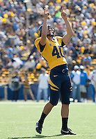 Giorgio Tavecchio after a converting the extra point. The California Golden Bears defeated the UCLA Bruins 35-7 at Memorial Stadium in Berkeley, California on October 9th, 2010.