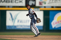 San Jose Giants second baseman Jalen Miller (2) prepares to make a throw to first base during a California League game against the Modesto Nuts at John Thurman Field on May 9, 2018 in Modesto, California. San Jose defeated Modesto 9-5. (Zachary Lucy/Four Seam Images)