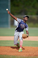 Marquis Grissom Jr (16) during the WWBA World Championship at the Roger Dean Complex on October 12, 2019 in Jupiter, Florida.  Marquis Grissom Jr attends Counterpane High School in Atlanta, GA and is committed to Georgia Tech.  (Mike Janes/Four Seam Images)