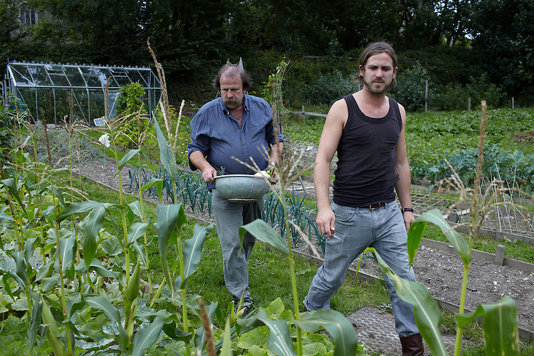 © John Angerson..self-sufficient farmers- father and son team Dick and James Strawbridge at their small holding in Parr, Cornwall.