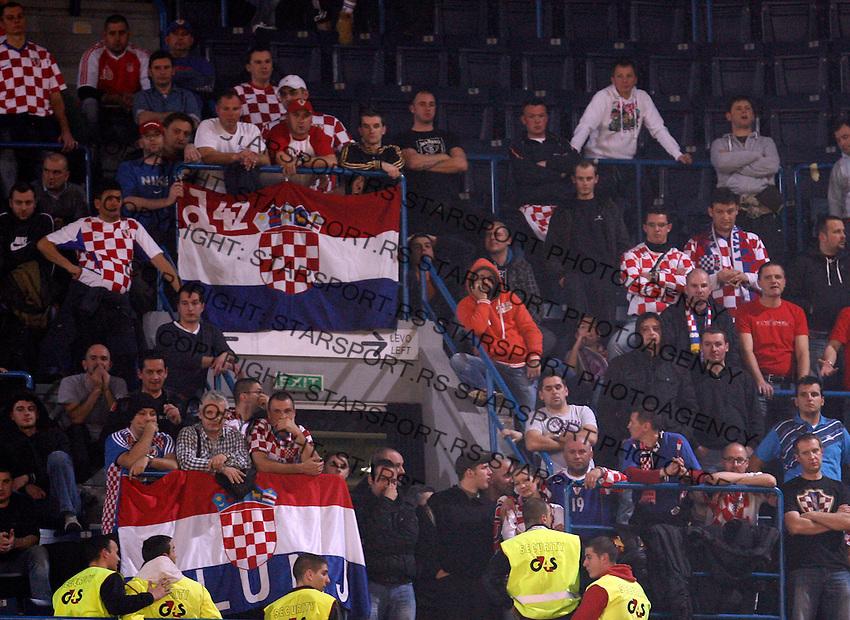 Croatian supporters during men`s EHF EURO 2012 championship semifinal handball game between Serbia and Croatia in Belgrade, Serbia, Friday, January 27, 2011.  (photo: Pedja Milosavljevic / thepedja@gmail.com / +381641260959)