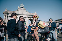 Belgian champion Oliver Naesen (BEL/AG2R-LaMondiale) interviewed at the start<br /> <br /> 97th Brussels Cycling Classic (1.HC)<br /> 1 Day Race: Brussels > Brussels (201km)