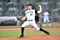 Northern Division pitcher Domenic Mazza (34) of the Greensboro Grasshoppers delivers a pitch during the South Atlantic League All Star Game at Spirit Communications Park on June 20, 2017 in Columbia, South Carolina. The game ended in a tie 3-3 after seven innings. (Tony Farlow/Four Seam Images)