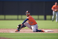 Houston Astros Miguelangel Sierra (55) stretches for a throw during a Minor League Spring Training Intrasquad game on March 28, 2019 at the FITTEAM Ballpark of the Palm Beaches in West Palm Beach, Florida.  (Mike Janes/Four Seam Images)