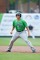 Gwinnett Stripers third baseman Austin Riley (27) leads off first base during a game against the Columbus Clippers on May 17, 2018 at Huntington Park in Columbus, Ohio.  Gwinnett defeated Columbus 6-0.  (Mike Janes/Four Seam Images)
