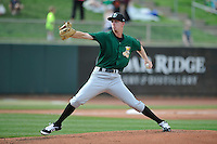 Clinton LumberKings starting pitcher Nick Wellls (37) throws during the game against the Cedar Rapids Kernels at Veterans Memorial Stadium on April 16, 2016 in Cedar Rapids, Iowa.  Cedar Rapids won 7-0.  (Dennis Hubbard/Four Seam Images)