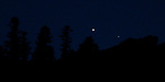 Jupiter and Saturn along the Sierra ridge, near Woodfords, Ca., on Tuesday, Dec. 22, 2020. <br /> Photo by Cathleen Allison