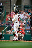Rochester Red Wings Brent Rooker (19) bats during an International League game against the Pawtucket Red Sox on June 28, 2019 at Frontier Field in Rochester, New York.  Pawtucket defeated Rochester 8-5.  (Mike Janes/Four Seam Images)