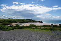 A general view of Three Cliffs Bay, Swansea, Wales, UK. Thursday 06 June 2019