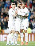 Real Madrid's Toni Kroos, Karim Benzema and Karim Benzema celebrate goal during La Liga match. March 20,2016. (ALTERPHOTOS/Acero)