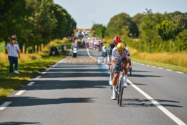 The breakaway with Greg Van Avermaet (BEL) AG2R Citroen Team and Roger Kluge (GER) Lotto-Soudal during Stage 6 of the 2021 Tour de France, running 160.6km from Tours to Chateauroux, France. 1st July 2021.  <br /> Picture: A.S.O./Charly Lopez | Cyclefile<br /> <br /> All photos usage must carry mandatory copyright credit (© Cyclefile | A.S.O./Charly Lopez)