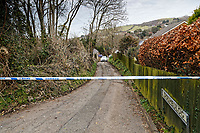 """Pictured: The lane leading to the house in Aberaeron, where the remains of a woman have been discovered in Ceredigion County, Wales, UK. Wednesday 21 March 2018<br /> Re: Human remains have been found in a house following a police investigation to find a missing woman.<br /> Police were called to the property in Aberaeron, west Wales after a woman in her 50s collapsed.<br /> Police also discovered the woman's mother, in her 80s, who had not been seen for some time.<br /> The women were named locally as Gaynor and Valerie Jones, with police currently treating the death as unexplained.<br /> The two women have ben described as """"reclusive"""" by neighbours and the home they shared as being """"heavily cluttered""""."""