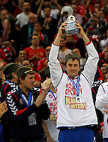 Second placed Serbian national handball team players Momir Ilic and coach Veselin Vukovic after men`s EHF EURO 2012 handball championship  in Belgrade, Serbia, Sunday, January 29, 2011.  (photo: Pedja Milosavljevic / thepedja@gmail.com / +381641260959)