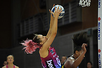 Steel's George Fisher takes a pass during the ANZ Premiership netball match between Central Pulse and Southern Steel at Te Rauparaha Arena in Porirua, New Zealand on Sunday, 16 May 2021. Photo: Dave Lintott / lintottphoto.co.nz