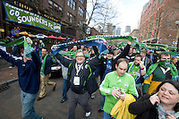 Drew Carey leads the supporter group before a 3-0 Seattle Sounders victory over the New Your Red Bulls, Thursday, March 19, 2009.