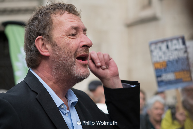 Phil Jackson, StopHDV.  Protest outisde the High Court, London, at the start of judicial review of a Haringey Council plan to  hand over council estates to property developer Lendlease.