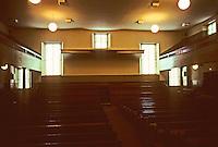 Philadelphia: Interior of Arch Street Friends Meeting House, 1803-05, 1810-1811. Owen Biddle, carpenter. Photo '88.
