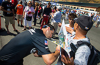 Jul. 27, 2014; Sonoma, CA, USA; NHRA pro stock driver  Vincent Nobile signing some autographs during the Sonoma Nationals at Sonoma Raceway. Mandatory Credit: Mark J. Rebilas-