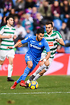 Angel Luis Diaz of Getafe CF (L) fights for the ball with Jordan Moreno of SD Eibar (R) during the La Liga 2017-18 match between Getafe CF and SD Eibar at Coliseum Alfonso Perez Stadium on 09 December 2017 in Getafe, Spain. Photo by Diego Souto / Power Sport Images