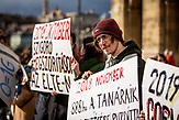 Demonstration gegen die finanzielle Sanktionierung wissenschaftliche Einrichtungen in Ungarn. Demonstration against the financial sanctioning of  scientific institutions in Hungary, Csaba Pléh - psichologyst, former vice president of the Academy