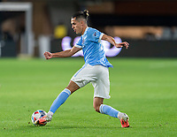 WASHINGTON, DC - APRIL 17: Jesus Medina #19 of New York City FC dribbles during a game between New York City FC and D.C. United at Audi Field on April 17, 2021 in Washington, DC.