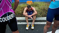 17 SEP 2011 - LA BAULE, FRA - Aurelien Lebrun (Rouen Triathlon)  recovers after finishing the final round of the men's French Grand Prix Series at the Triathlon Audencia in La Baule, France .(PHOTO (C) NIGEL FARROW)