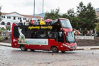 Peru, Cusco.  Double-decker Sightseeing Bus.
