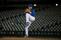 AZL Cubs relief pitcher Riley McCauley (64) delivers a pitch during an Arizona League game against the AZL Brewers at Sloan Park on June 29, 2018 in Mesa, Arizona. The AZL Cubs 1 defeated the AZL Brewers 7-1. (Zachary Lucy/Four Seam Images)