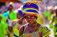 An Afro-Colombian dancer of the Cesar Conto neighborhood takes part in the San Pacho festival in Quibdó, Colombia, 27 September 2019. Every year at the turn of September and October, the capital of the Pacific region of Chocó holds the celebrations in honor of Saint Francis of Assisi (locally named as San Pacho), recognized as Intangible Cultural Heritage by UNESCO. Each day carnival groups, wearing bright colorful costumes and representing each neighborhood, dance throughout the city, supported by brass bands playing live music. The festival culminates in a traditional boat ride on the Atrato River, followed by massive religious processions, which accent the pillars of Afro-Colombian's identity – the Catholic devotion grown from African roots.