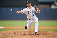 Biloxi Shuckers relief pitcher Tyler Spurlin (23) during a Southern League game against the Montgomery Biscuits on May 8, 2019 at MGM Park in Biloxi, Mississippi.  Biloxi defeated Montgomery 4-2.  (Mike Janes/Four Seam Images)