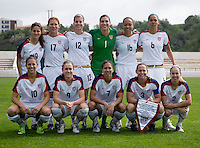 The USWNT starting XI lines up before the opening match of the Algarve Cup.  The USWNT defeated Denmark, 2-0, in Lagos, Portugal.