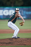 Charleston Boiled Peanuts relief pitcher Graeme Stinson (27) in action against the Augusta GreenJackets at Joseph P. Riley, Jr. Park on June 26, 2021 in Charleston, South Carolina. (Brian Westerholt/Four Seam Images)