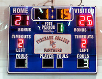 2 November 2014: The scoreboard shows the final score of the 4th and deciding set between the visiting Yeshiva University Maccabees and the Purchase College Panthers at SUNY Purchase College, in Purchase, NY. The Maccabees defeated the Panthers 3-1 in the NCAA Division III Women's Volleyball Skyline matchup. Mandatory Credit: Ed Wolfstein Photo *** RAW (NEF) Image File Available ***