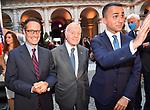 LUIGI CONTU, GIANNI LETTA E LUIGI DI MAIO<br /> RICEVIMENTO 14 LUGLIO 2021 AMBASCIATA DI FRANCIA<br /> PALAZZO FARNESE ROMA