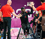 Blaise Mutware, Lima 2019 - Wheelchair Basketball // Basketball en fauteuil roulant.<br /> Canada takes on the USA in the gold medal game in men's wheelchair basketball // Le Canada affronte les États-Unis dans le match pour la médaille d'or en basketball en fauteuil roulant masculin. 31/08/2019.